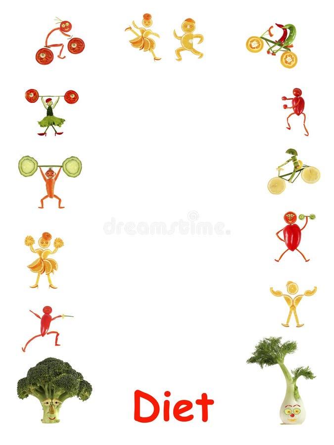 σιτηρέσιο Μικροί αστείοι άνθρωποι φιαγμένοι από λαχανικά και φρούτα - πλαίσιο απεικόνιση αποθεμάτων
