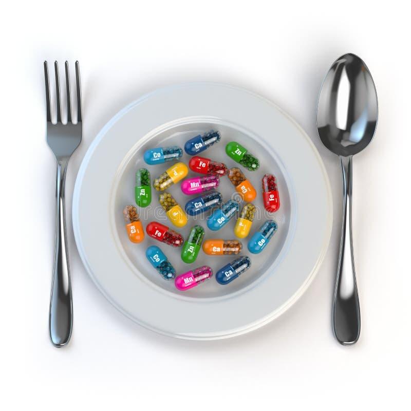 σιτηρέσιο Χάπια ή βιταμίνες στο πιάτο με το κουτάλι και το δίκρανο ελεύθερη απεικόνιση δικαιώματος