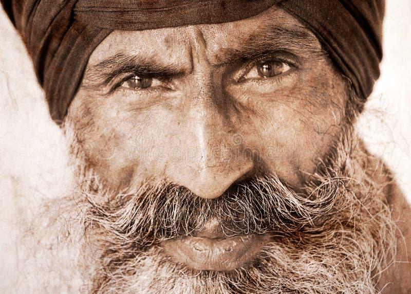 Σιχ άτομο σε Amritsar, Ινδία. Έργο τέχνης στο αναδρομικό ύφος. στοκ φωτογραφία με δικαίωμα ελεύθερης χρήσης