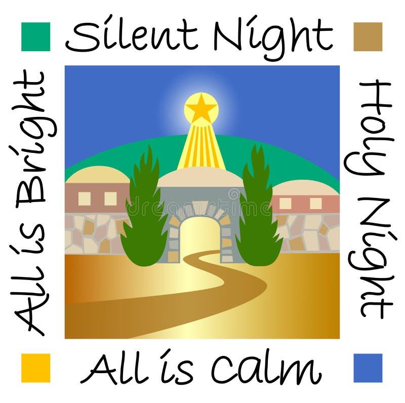 Σιωπηλή νύχτα Βηθλεέμ/eps απεικόνιση αποθεμάτων
