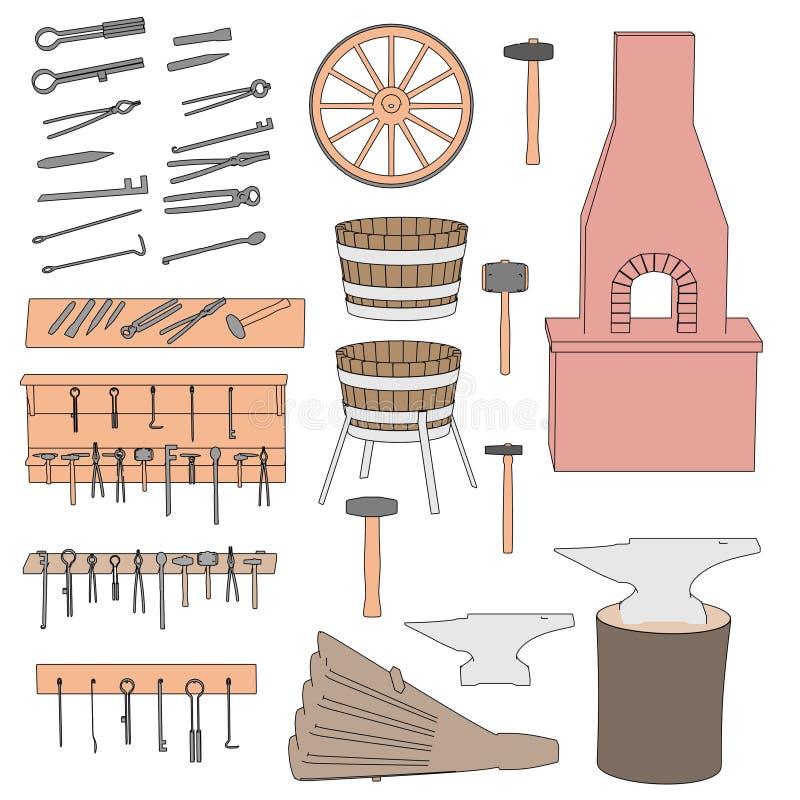 Σιδηρουργός - μεγάλο σύνολο εργαλείων διανυσματική απεικόνιση