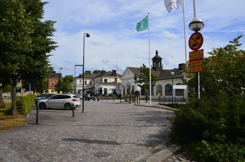 Σιδηροδρομικός σταθμός σε Katrineholm, Σουηδία στοκ εικόνες