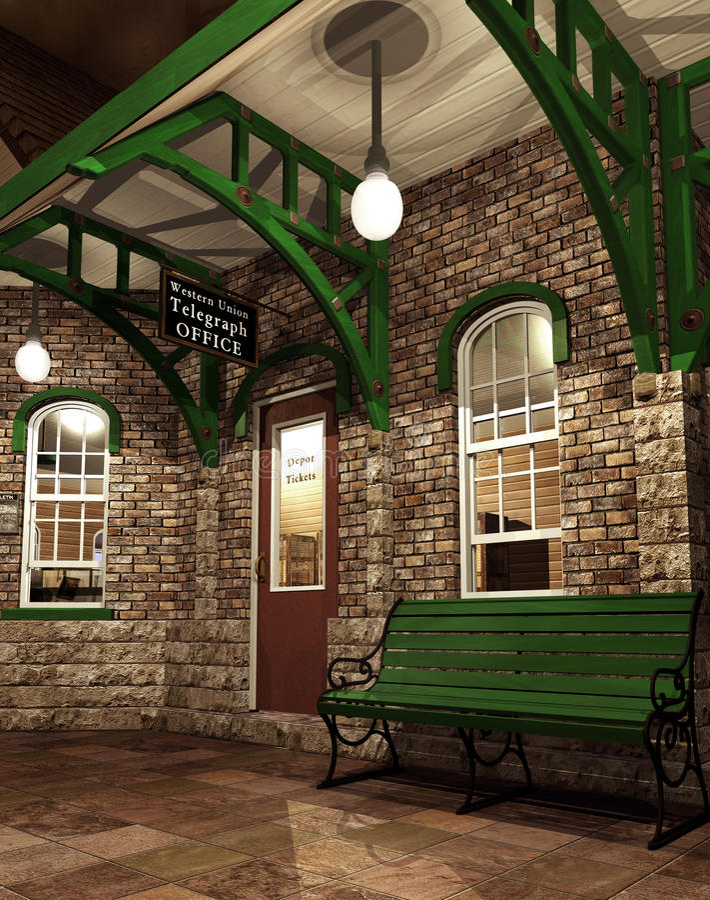 Σιδηροδρομικός σταθμός φαντασίας ελεύθερη απεικόνιση δικαιώματος