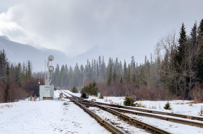 Σιδηρόδρομος μέσω των βουνών μια ομιχλώδη χειμερινή ημέρα στοκ εικόνα με δικαίωμα ελεύθερης χρήσης