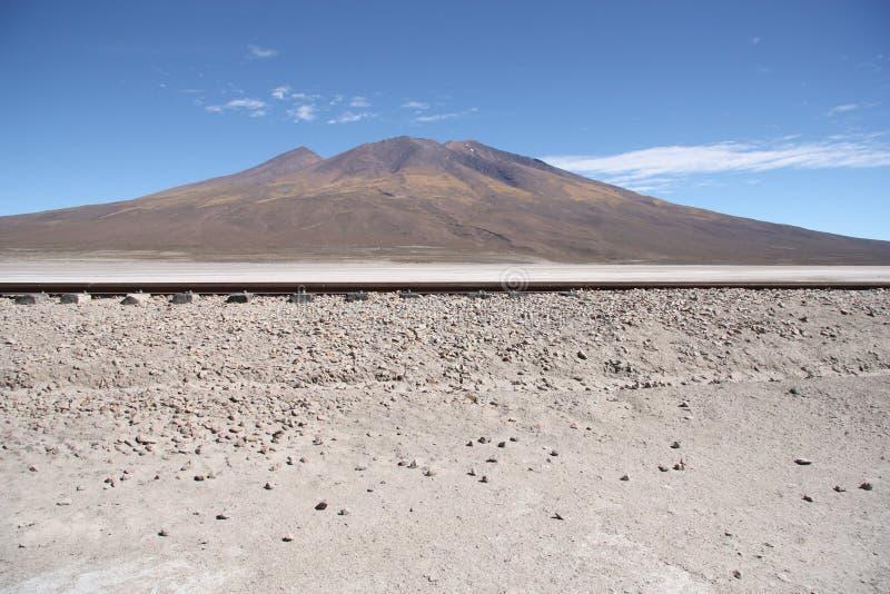 Σιδηρόδρομος στην έρημο και το βουνό στοκ εικόνα με δικαίωμα ελεύθερης χρήσης