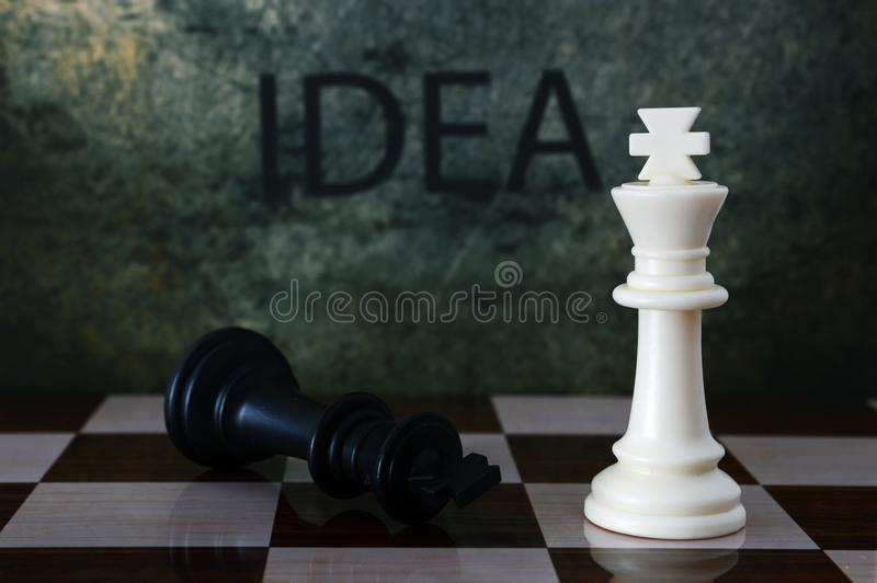 Σκάκι και κείμενο ιδέας στοκ φωτογραφία
