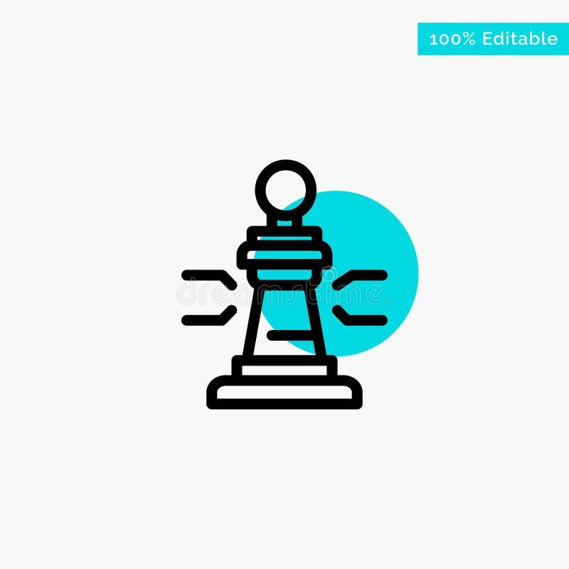 Σκάκι, παιχνίδι, παίκτης, βασιλιάς, διανυσματικό εικονίδιο σημείου κυριώτερων κύκλων πόκερ τυρκουάζ διανυσματική απεικόνιση