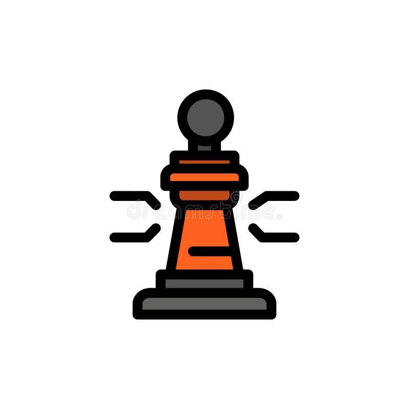Σκάκι, παιχνίδι, παίκτης, βασιλιάς, επίπεδο εικονίδιο χρώματος πόκερ Διανυσματικό πρότυπο εμβλημάτων εικονιδίων ελεύθερη απεικόνιση δικαιώματος
