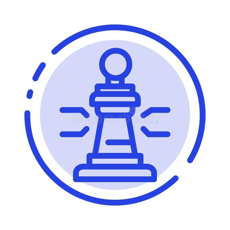 Σκάκι, παιχνίδι, παίκτης, βασιλιάς, μπλε εικονίδιο γραμμών διαστιγμένων γραμμών πόκερ ελεύθερη απεικόνιση δικαιώματος