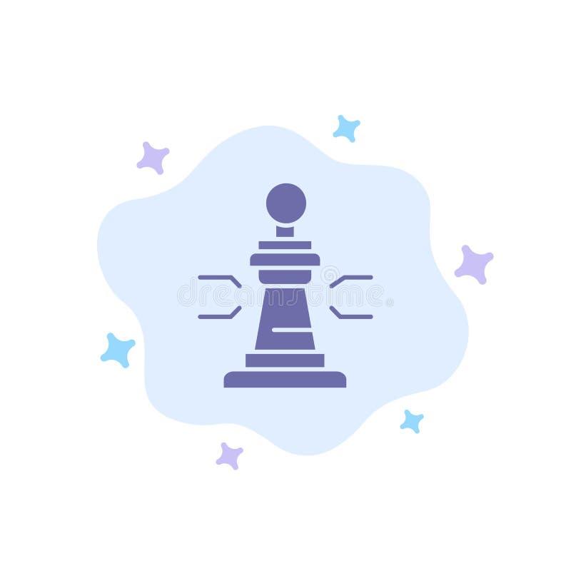 Σκάκι, παιχνίδι, παίκτης, βασιλιάς, μπλε εικονίδιο πόκερ στο αφηρημένο υπόβαθρο σύννεφων διανυσματική απεικόνιση