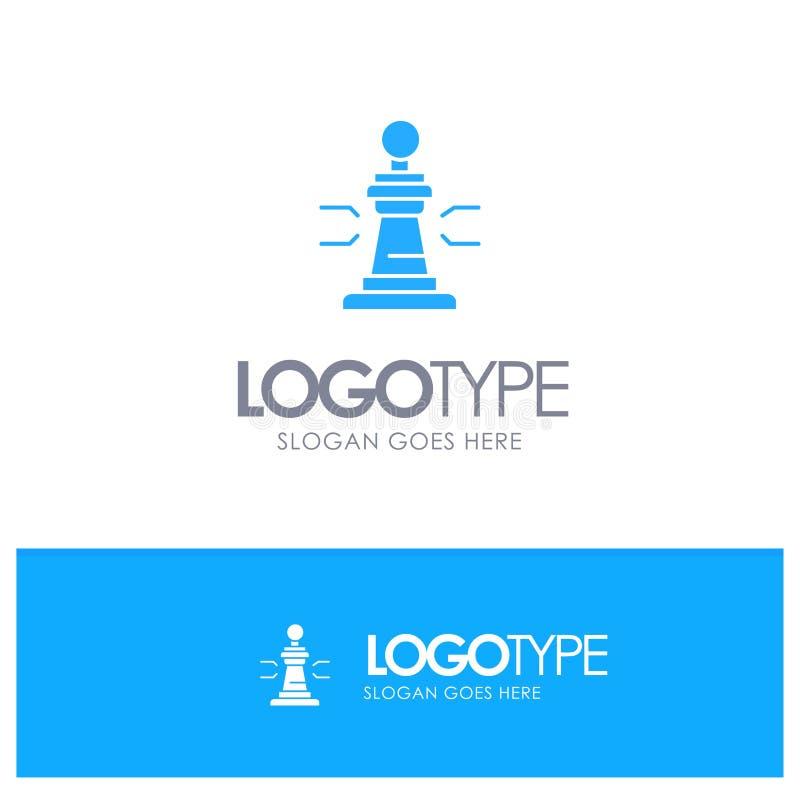 Σκάκι, παιχνίδι, παίκτης, βασιλιάς, μπλε στερεό λογότυπο πόκερ με τη θέση για το tagline ελεύθερη απεικόνιση δικαιώματος