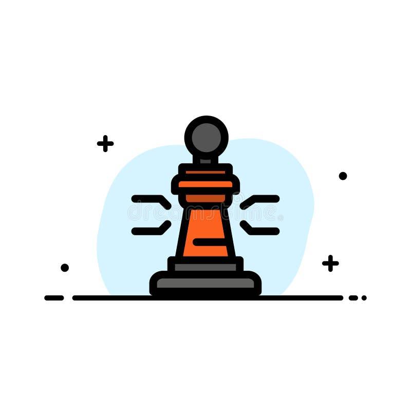 Σκάκι, παιχνίδι, παίκτης, βασιλιάς, πόκερ πρότυπο εμβλημάτων επιχειρησιακών επίπεδο γεμισμένο γραμμή εικονιδίων διανυσματικό διανυσματική απεικόνιση
