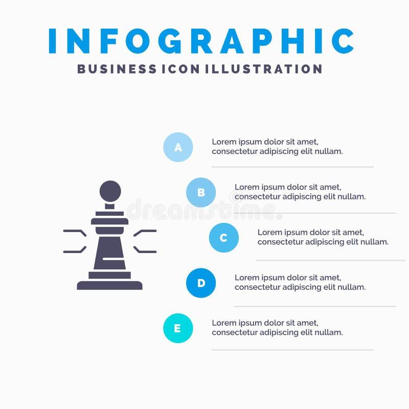 Σκάκι, παιχνίδι, παίκτης, βασιλιάς, στερεό εικονίδιο Infographics 5 πόκερ υπόβαθρο παρουσίασης βημάτων απεικόνιση αποθεμάτων