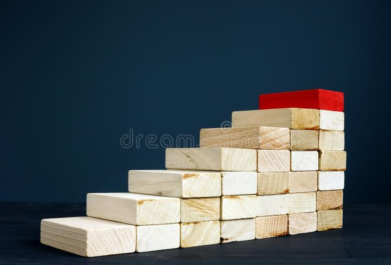Σκάλα ή πορεία σταδιοδρομίας Ξύλινα σκαλοπάτια ως επιτυχία συμβόλων στην επιχείρηση στοκ φωτογραφία με δικαίωμα ελεύθερης χρήσης