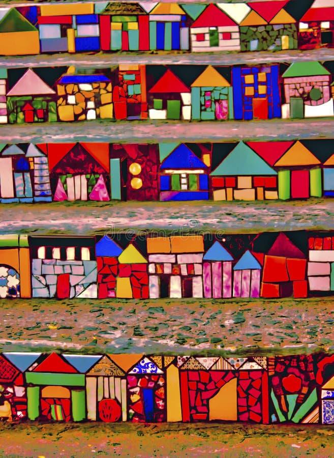 Σκάλα με τα καλλιτεχνικά και πολύχρωμα σχέδια στοκ εικόνες με δικαίωμα ελεύθερης χρήσης