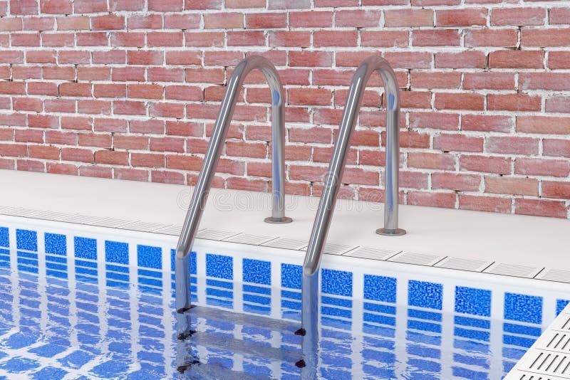 Σκάλα πισινών χρωμίου στην πισίνα μπροστά από το εσωτερικό τουβλότοιχος τρισδιάστατη απόδοση απεικόνιση αποθεμάτων