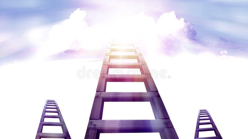 Σκάλα στον ουρανό με το άσπρο σύννεφο διανυσματική απεικόνιση