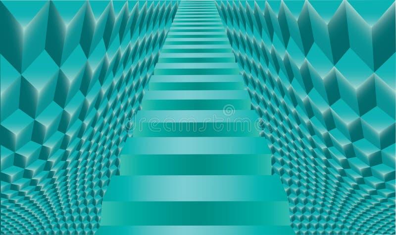 Σκάλα στο παλάτι πάγου Αφηρημένο υπόβαθρο κύβων ελεύθερη απεικόνιση δικαιώματος