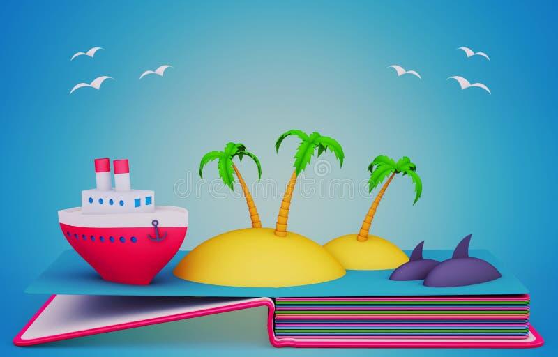 Σκάστε επάνω το βιβλίο με τα πρότυπα εγγράφου του σκάφους και των τροπικών νησιών διανυσματική απεικόνιση