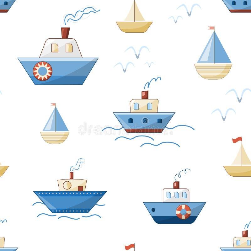 Σκάφη, βάρκες, ατμόπλοια και γιοτ κινούμενων σχεδίων με τα κύματα και seagulls απεικόνιση αποθεμάτων