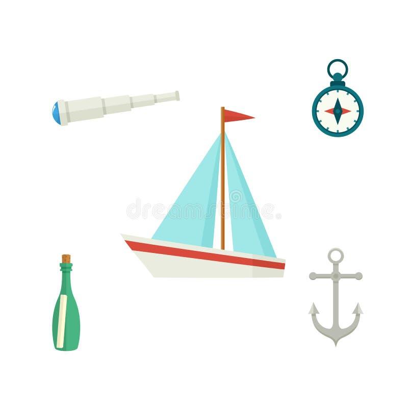 Σκάφος, άγκυρα, πυξίδα, τηλεσκόπιο, μπουκάλι μηνυμάτων απεικόνιση αποθεμάτων