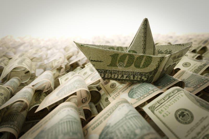 Σκάφος από το έγγραφο δολαρίων στη σύνθεση έννοιας θάλασσας χρημάτων στοκ φωτογραφίες