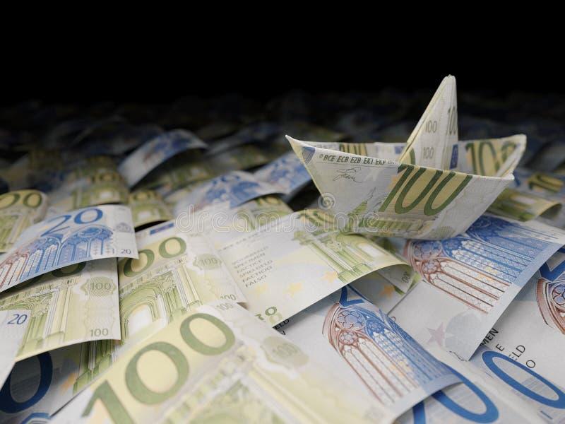 Σκάφος από το ευρο- έγγραφο στη φωτογραφία σύνθεσης έννοιας θάλασσας χρημάτων στοκ φωτογραφία