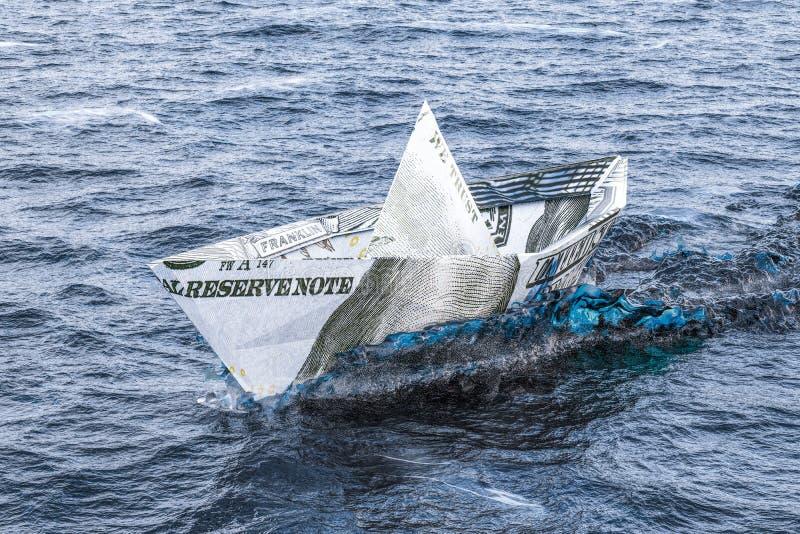 Σκάφος δολαρίων που κολυμπά στη θάλασσα τρισδιάστατος διανυσματική απεικόνιση
