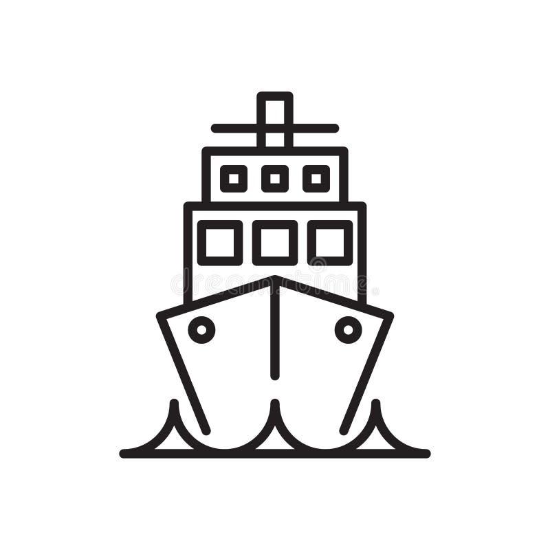 Σκάφος, εικονίδιο γραμμών σκαφών της γραμμής κρουαζιέρας, διανυσματικό σημάδι περιλήψεων, γραμμικό εικονόγραμμα ύφους που απομονώ διανυσματική απεικόνιση