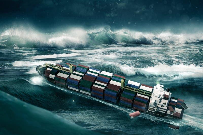Σκάφος εμπορευματοκιβωτίων στη θύελλα στοκ εικόνα με δικαίωμα ελεύθερης χρήσης