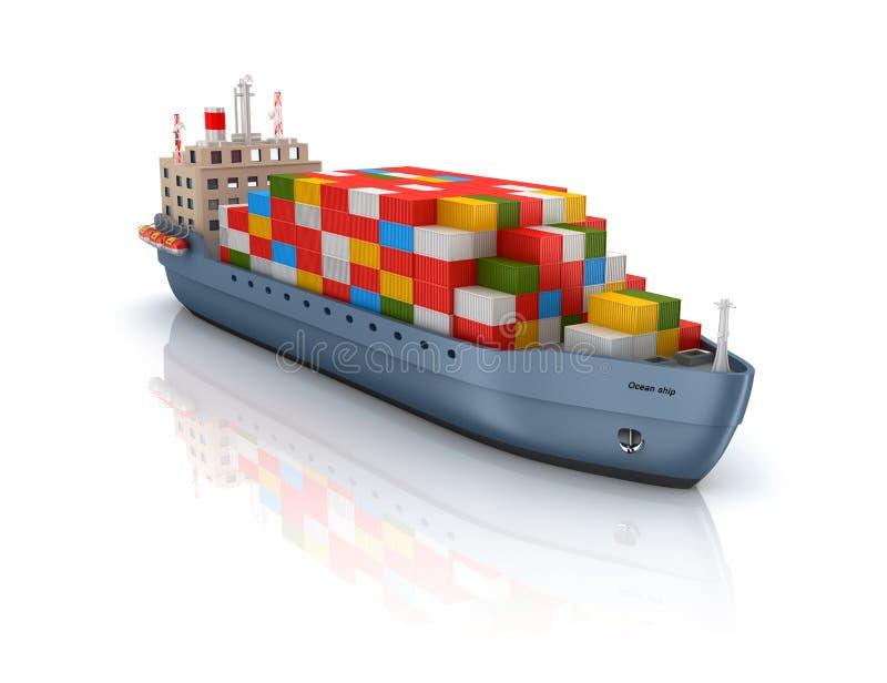 Σκάφος εμπορευματοκιβωτίων φορτίου διανυσματική απεικόνιση