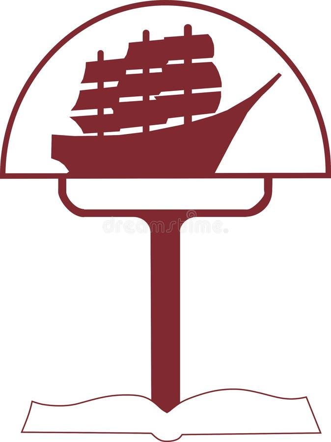Σκάφος και λαμπτήρας λογότυπων στοκ εικόνα