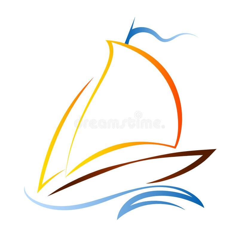 Σκάφος με ένα πανί στα κύματα απεικόνιση αποθεμάτων