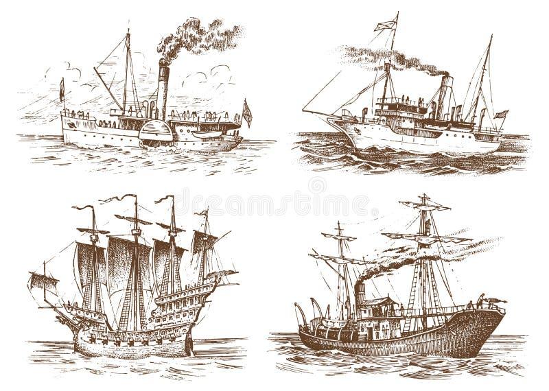 Σκάφος μηχανών στη θάλασσα, θερινή περιπέτεια, ενεργές διακοπές Σκάφος θαλάσσης με τον καπνό ατμού από το σωλήνα, ναυτικό πανί διανυσματική απεικόνιση