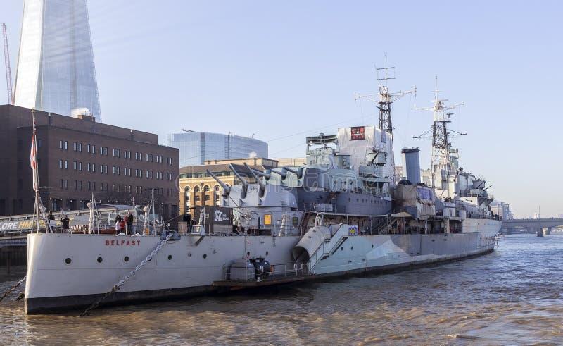Σκάφος μουσείων HMS Μπέλφαστ στοκ εικόνες με δικαίωμα ελεύθερης χρήσης