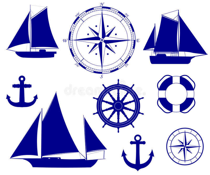 Σκάφος Ναυτική διανυσματική απεικόνιση διακοσμήσεων ελεύθερη απεικόνιση δικαιώματος