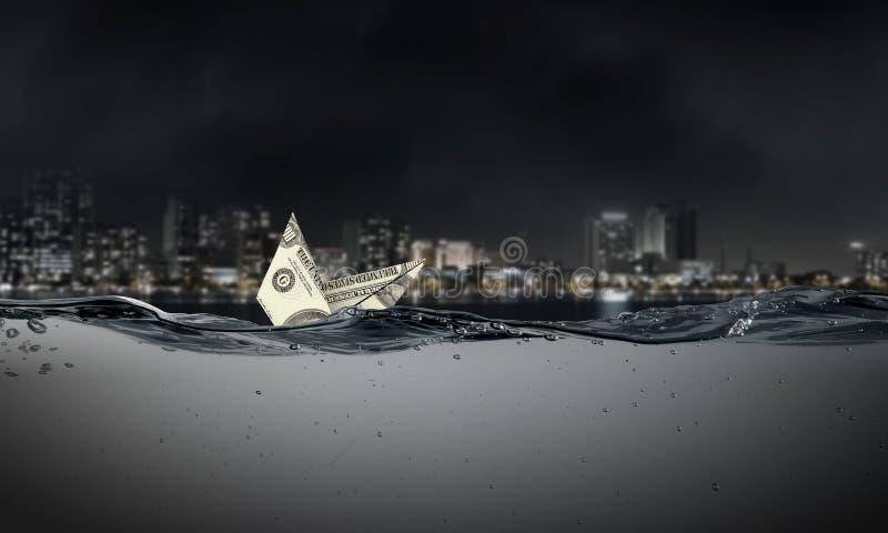 Σκάφος δολαρίων στο νερό στοκ φωτογραφία με δικαίωμα ελεύθερης χρήσης