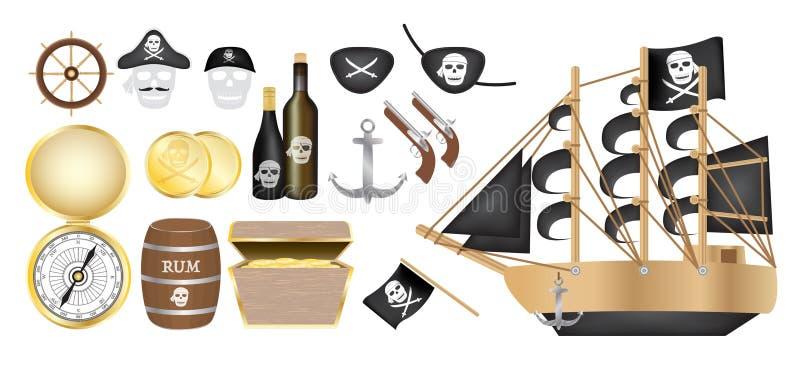 Σκάφος πειρατών με το χρυσό μπάλωμα ματιών πυροβόλων όπλων σημαιών κιβωτίων θησαυρών βαρελιών ρουμιού νομισμάτων πυξίδων πειρατών διανυσματική απεικόνιση