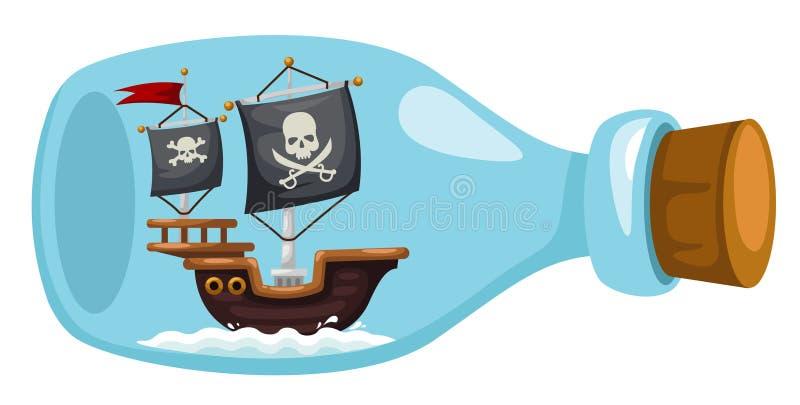 Σκάφος πειρατών στο μπουκάλι απεικόνιση αποθεμάτων