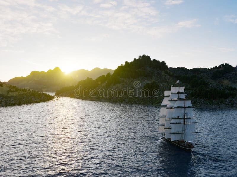 Σκάφος που πλέει στις τραχιές θάλασσες κοντά επάνω στο υπόβαθρο ηλιοβασιλέματος στοκ φωτογραφία με δικαίωμα ελεύθερης χρήσης