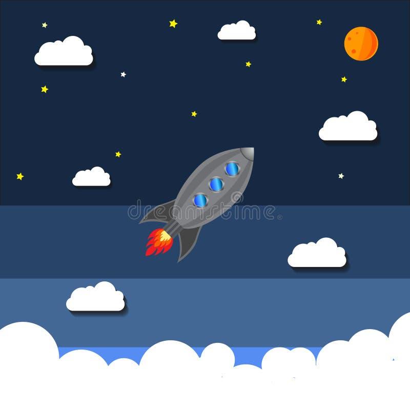 Σκάφος πυραύλων σε ένα επίπεδο ύφος Διαστημική έναρξη πυραύλων στοκ εικόνες
