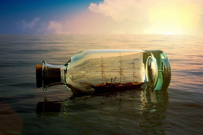 Σκάφος σε ένα μπουκάλι διανυσματική απεικόνιση