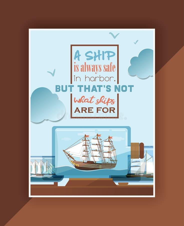 Σκάφος στη διανυσματική βάρκα μπουκαλιών στο μικροσκοπικό αναμνηστικό πανιών σκηνικού ταλαντούχο sailboat γυαλιού με την ταπετσαρ διανυσματική απεικόνιση