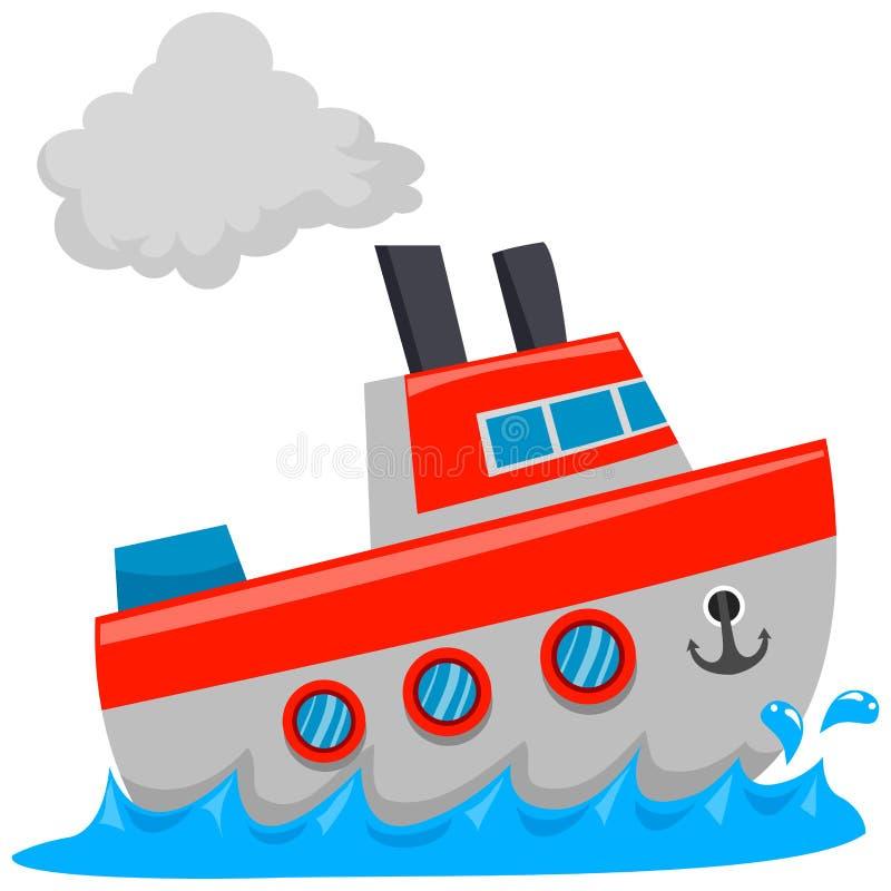 Σκάφος στη θάλασσα διανυσματική απεικόνιση