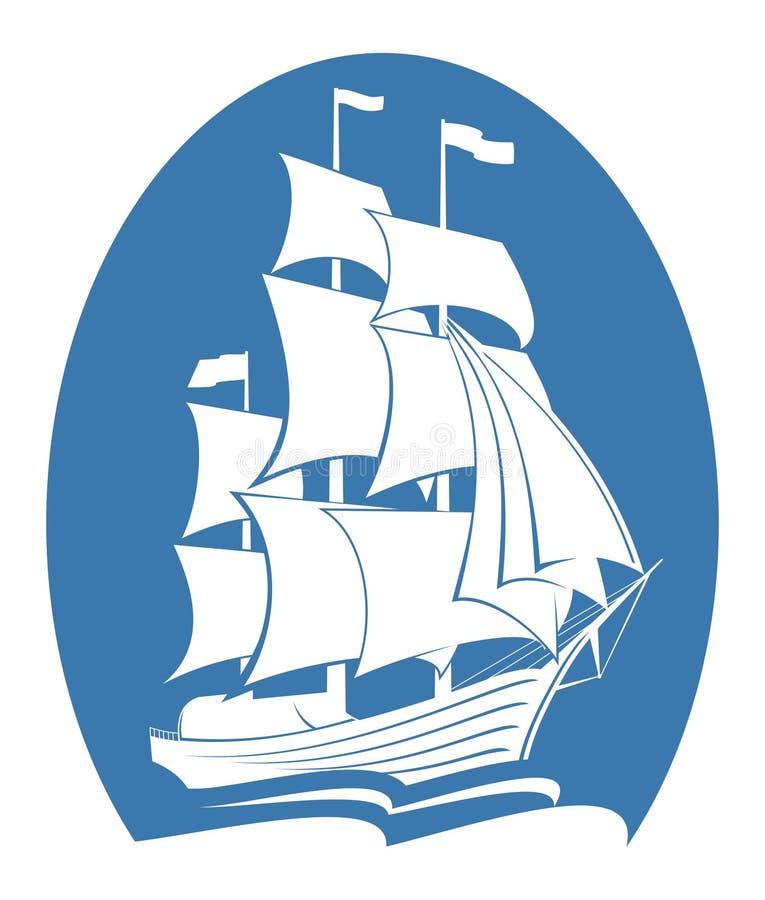 Σκάφος στον ωκεανό ελεύθερη απεικόνιση δικαιώματος