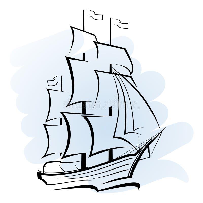 Σκάφος στον ωκεανό διανυσματική απεικόνιση