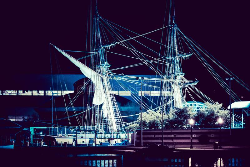 Σκάφος τη νύχτα στοκ εικόνες