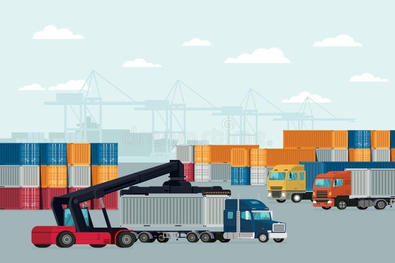Σκάφος φορτίου φορτίου εμπορευματοκιβωτίων διοικητικών μεριμνών για την εισαγωγή-εξαγωγή διάνυσμα διανυσματική απεικόνιση