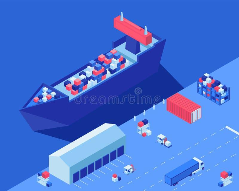 Σκάφος φορτίου που ξεφορτώνει τη isometric διανυσματική απεικόνιση Μεταφορά διανομής αποστολών, forklifts και φορτηγό με το φορτί απεικόνιση αποθεμάτων