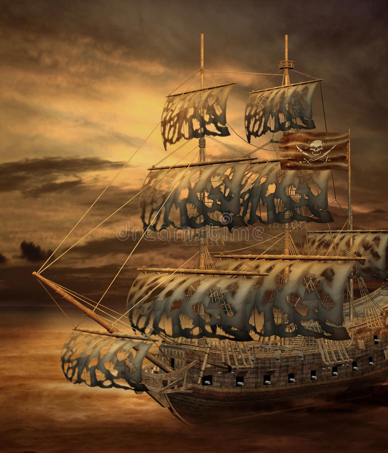 σκάφος 2 πειρατών διανυσματική απεικόνιση